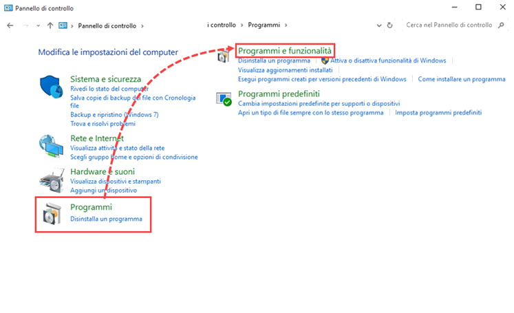 Apertura di Programmi e funzionalità in Windows