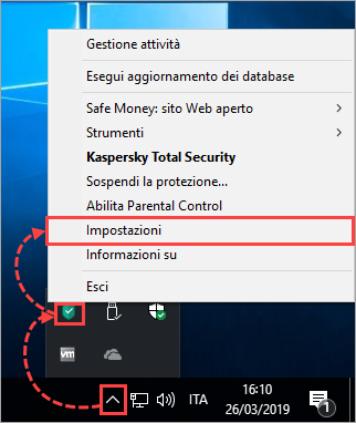Opening the settings for a Kaspersky Lab application via the icon's shortcut menu on the taskbar