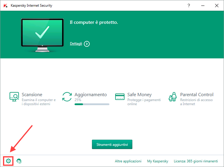 Nella finestra di Kaspersky Internet Security, fai clic sull'interruttore Safe Money.